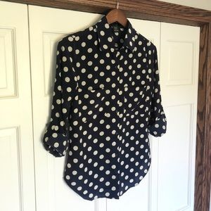Navy and cream polka dot collared button up
